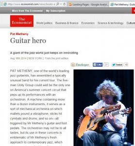 Metheny in The Economist 8-16-2014